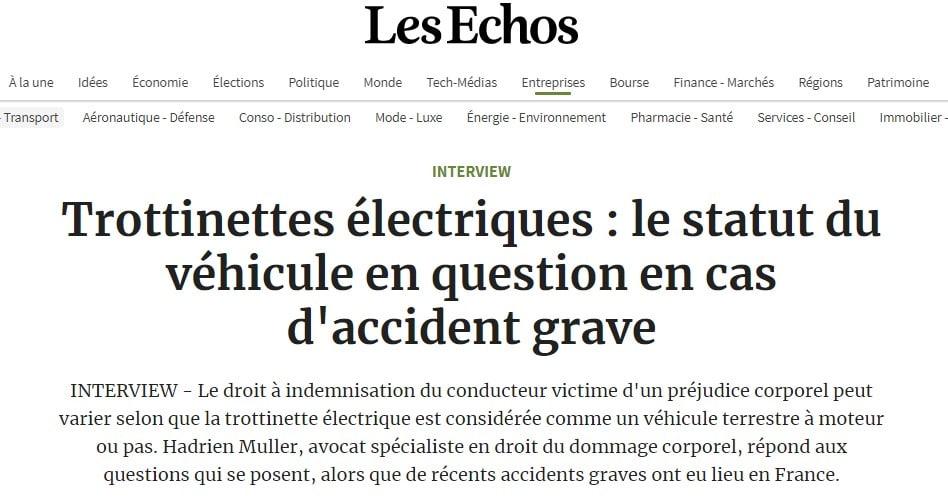 Préjudice trottinette : lire l'interview d'Hadrien Muller dans Les Echos